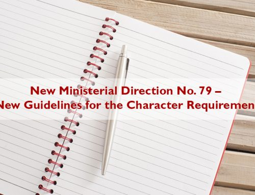 New Ministerial Direction No. 79 – New Guidelines for the Character Requirement